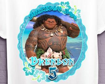 MAUI DISNEY Birthday SHIRT,Moana Personalized iron on t shirt,party supplies,Disney Oceania Birthday boy tshirt,custom Iron on transfer