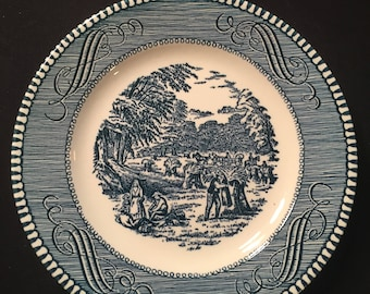 Currier and Ives bread and butter plate Harvest from The Old Grist Mill set