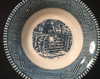 Currier and Ives The Old Grist Mill set  fruit/dessert bowl Old Farm Gate