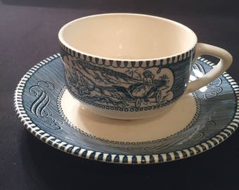 Currier and Ives patterned Cup and Saucer Plain Point