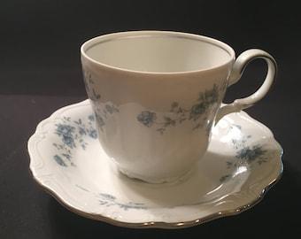 Blue Garland cup and saucer by Johann Haviland Bavaria Germany