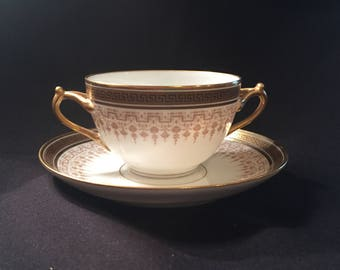 D & C France two handled Flat bouillon cup and saucer by L Bernardaud and Co