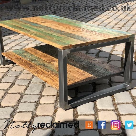 Rustic Coffee Table Painted Wood Reclaimed Wood Coffee Etsy