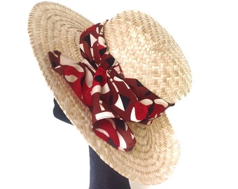 Wide brim straw hat for woman. Sun hat 70s style dress. Birthday present for wife. Gift mother in law. Boho chic Summer wedding. Beach hat