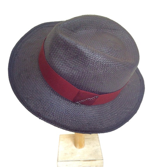Black straw fedora hat for men trimmed with dark red hatband  50a50482cb62
