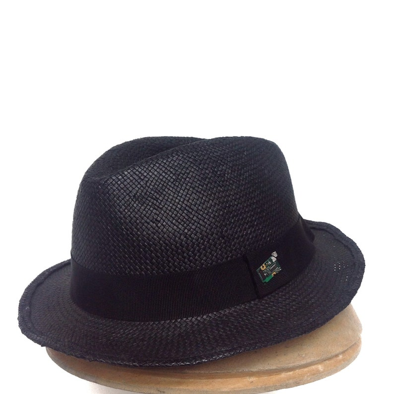 060792b675 Summer hat for men, black straw fedora sun hat black ribbon