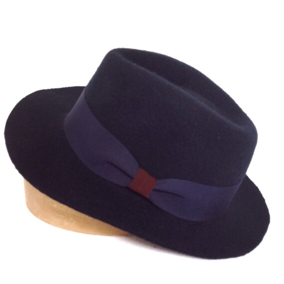 Navy blue fedora hat fall winter brimmed hat classic for  63ad747943b1