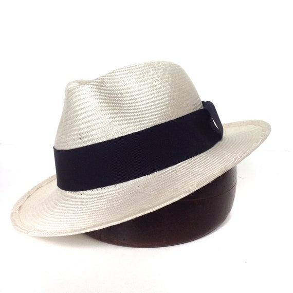 cdb65116b5e Panama mens hat fedora summer straw hat white creamsize 7