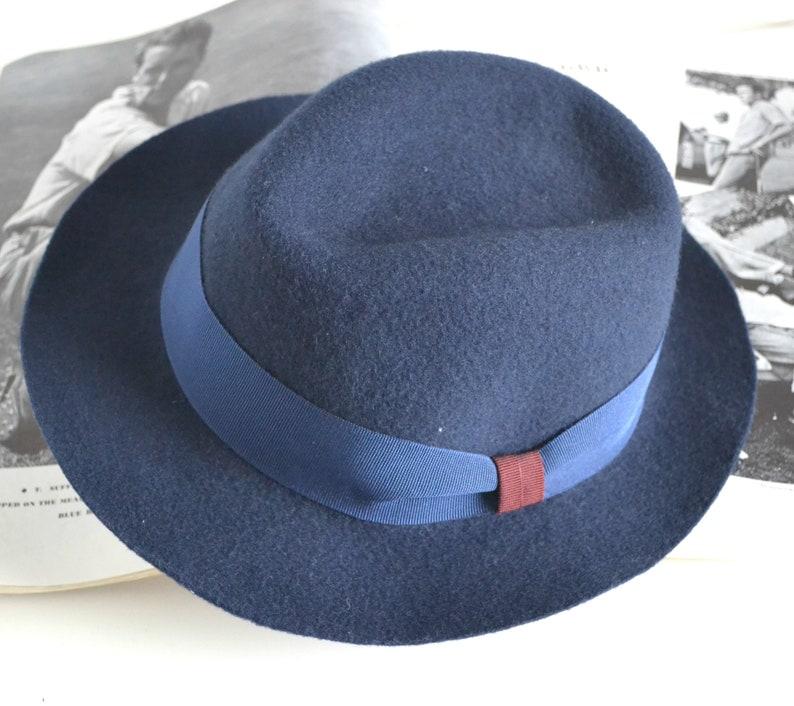 fall winter brimmed hat Navy blue fedora hat wool felt classic for woman