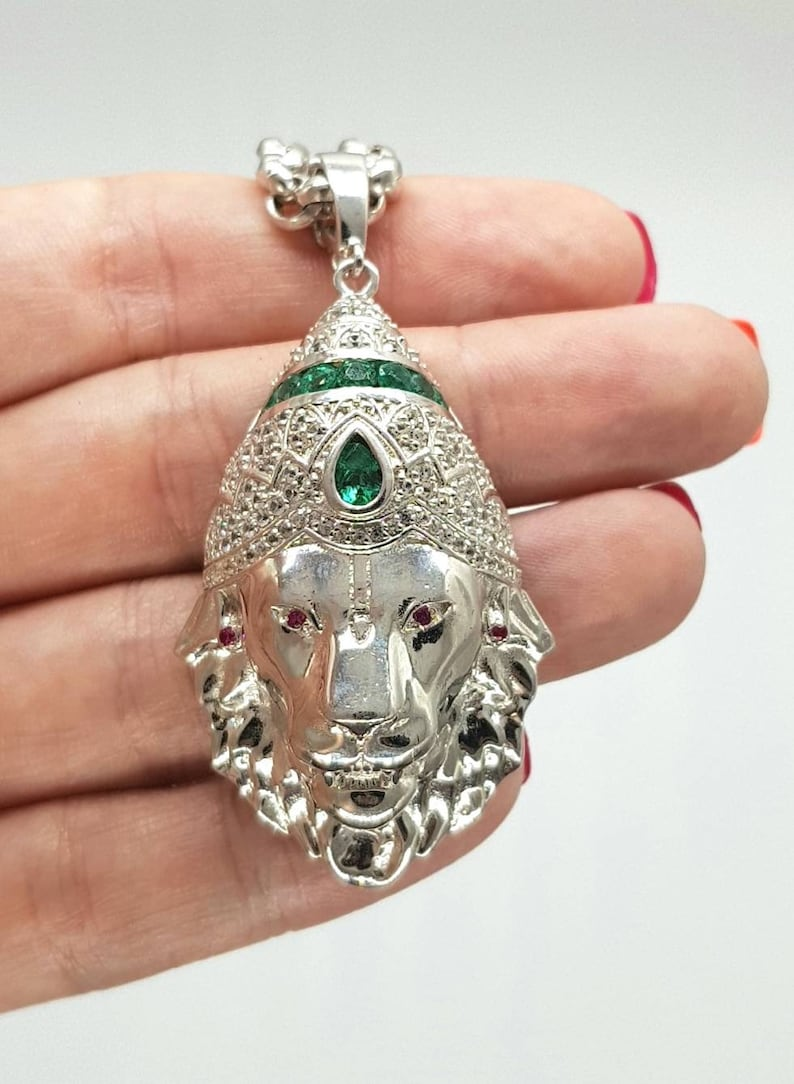 8ba4a14701a22 Lion Head Pendant Emerald Ruby & Sapphire 925 Sterling | Etsy