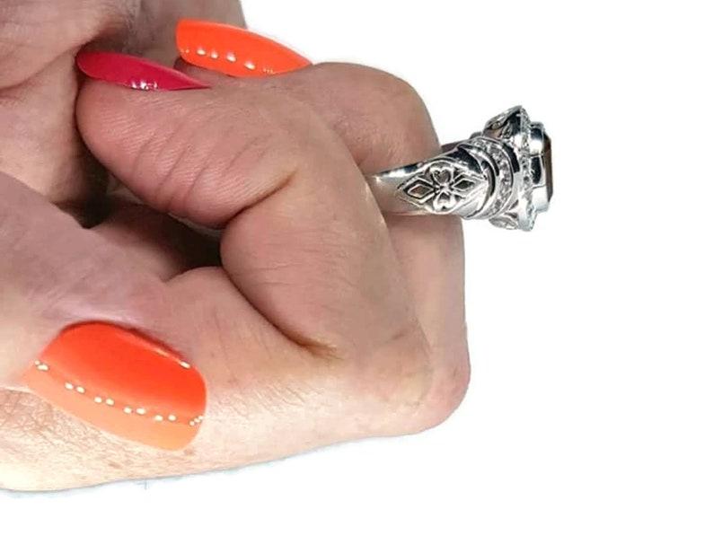 Wealth and Abundance Gemstone NEW 925 Sterling Silver Citrine /& Natural White Zircon Ring Fiery Citrine Gemstone Halo Ring Size 8.25