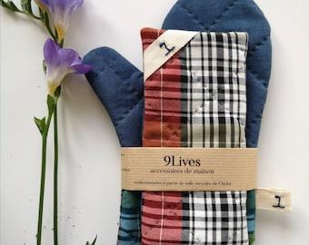 oven glove and square linen manic. handmade kitchen glove Pink manic set