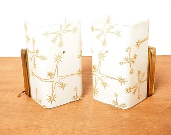 Mid Century Modern White with Gold Stars Inside or Outside Wall Sconces , Pair of Two Electrical Wall Sconces,  Electric MCM Rectangle Light