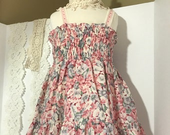 Vintage 1970's BoHo Shirred Top Floral Print Sundress