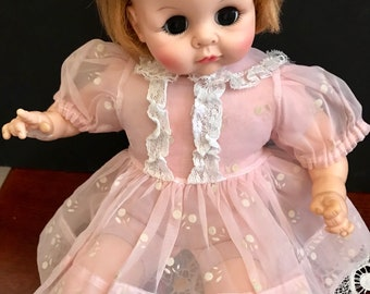 Barbie Handmade Sewn dress Blue floral print with lace fashion doll clothes M11
