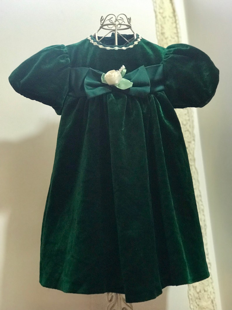 Rare Editions Christmas Toddler.Vintage Rare Editions Velveteen Toddler Dress