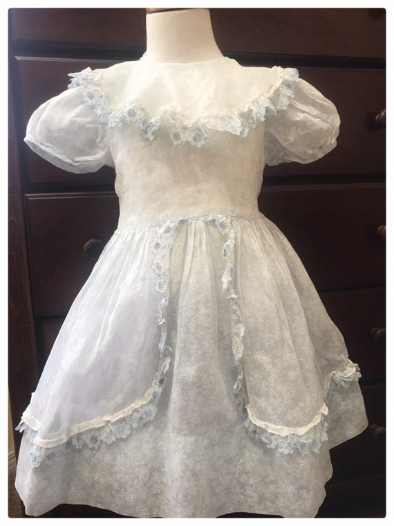 "Vintage 1950""s Girl""s Sheer Organza  Party Dress"