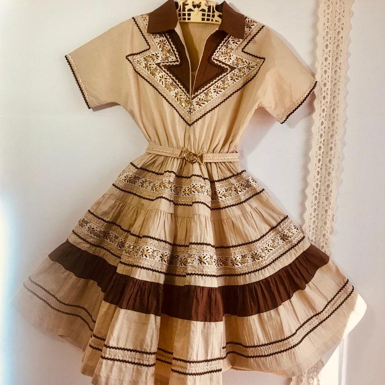 Vintage 1950 Childs Patio Dress Southwestern,Rodeo,Fiesta J/& M Creations Arizona