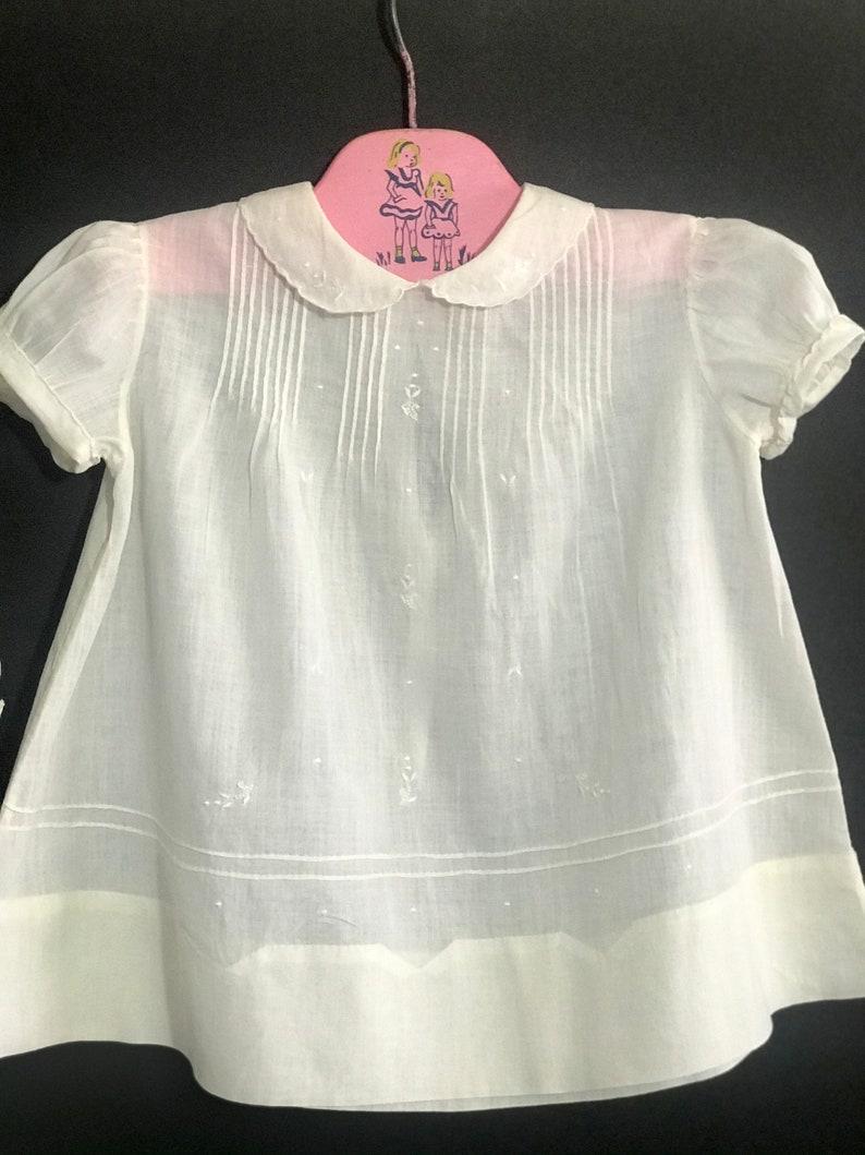 Vintage 1940 Heirloom  Handmade Batiste Cotton Baby Dress Baptism Classic Baby antique Doll