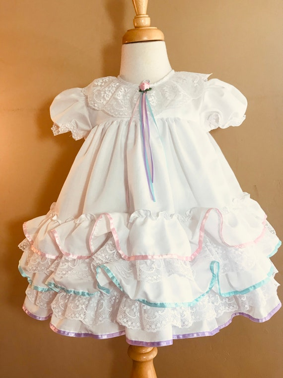 Vintage Mothercare Tiered Lace Toddler Rainbow Rib