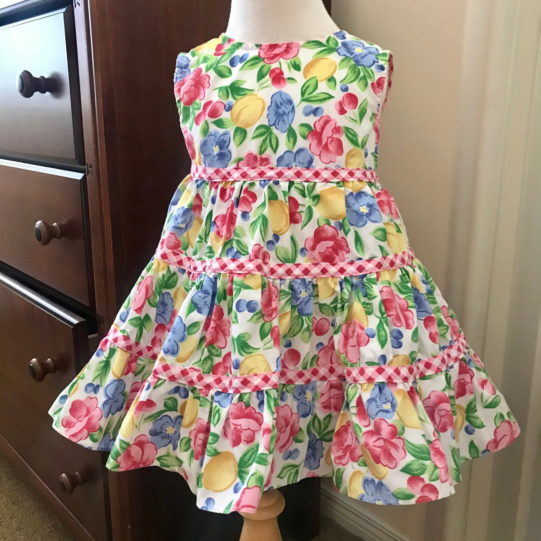 80s Dresses | Casual to Party Dresses Vintage 1980s  Rachels Kids Floral Print Sundress , 34 T , Gingham Matilda Jane Type Boho $24.00 AT vintagedancer.com