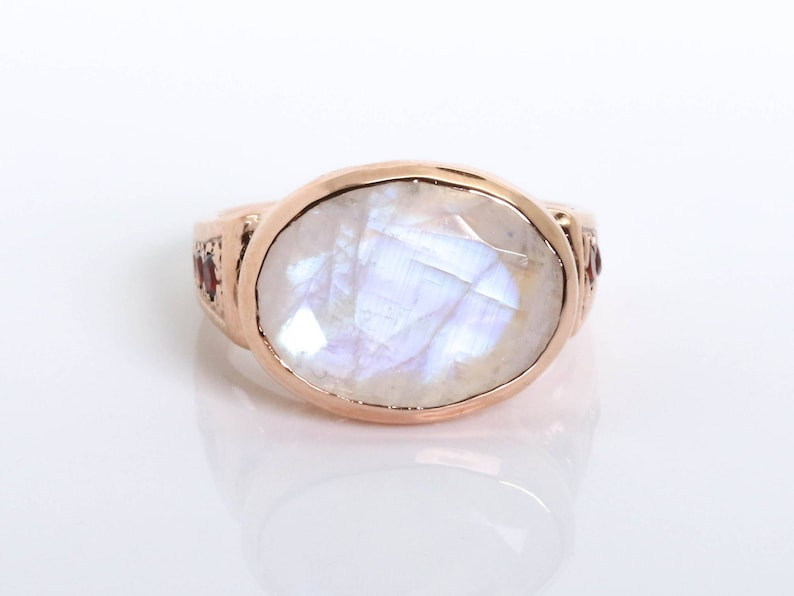 9e5a2a254ee52 Oval Moonstone Ring - Vintage Cocktail Moonstone Ring - October Birthstone  Ring - Moonstone Jewelry - Rainbow Ring - Moonstone and Garnet
