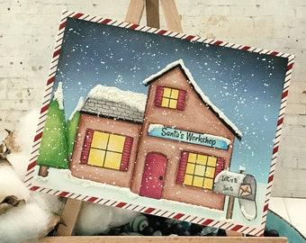 Santa's Workshop Christmas Holiday Greeting Card - Christmas Holiday Note Card - Stamped Image and Colored Pencils