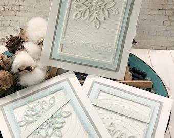 Set of 3 - Snowflake Glitter Panel Christmas Holiday Greeting Card - Christmas Holiday Note Card - Die Cutting Glitter Paper