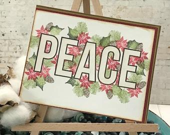 Shimmer Peace Christmas Holiday Greeting Card - Christmas Holiday Note Card - Stamped Images