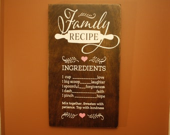 Our Family Recipe Sign