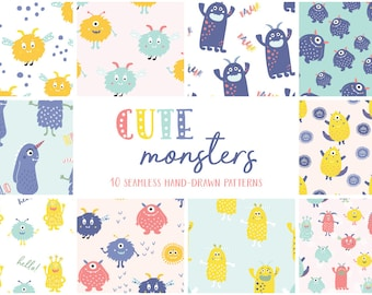 Cute Monsters Seamless Patterns