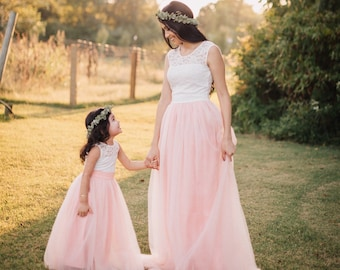 3210b6655251 Blush pink Mother Daughter Matching Tutu Lace Dresses, Tulle Dress Long  Floor Length, Blush Pink Lace Dress, Rustic Girl Dress