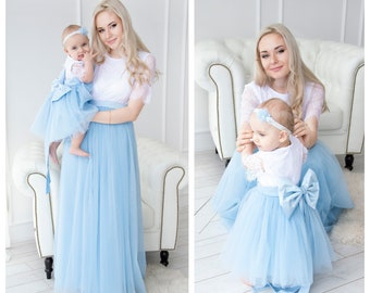 a33b8878aedea Mother Daughter Matching Dress, Mommy and me Dress, Blue mommy and me dress,  Prom Dress, Party Dress, Birthday party, Mother Daughter Gift