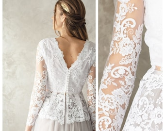 d85b0556365f9 Bridal top Lace Top Grop top Wedding lace top Lace wedding body Lace top  with long sleeves Floral Lace Top Top for Bride White Lace Top