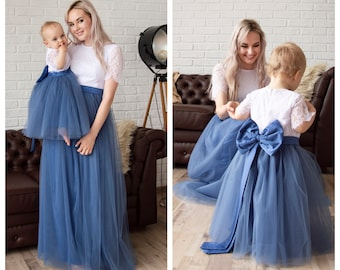 3a71412a6535 Matching Dress Mommy and me outfits Mom and baby Mother daughter Mommy and  me dress Smoke blue dress
