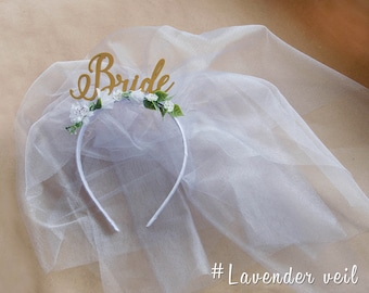 Headband with veil Bridal Shower Bride Gift Bride with Veil Headband, Bride to Be Hen Party Accessory, Bride Hen Do Headband