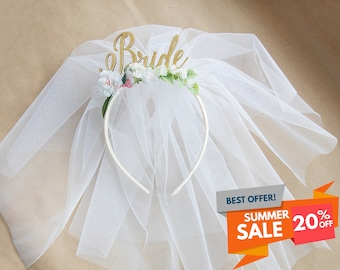Bride Party headband Hen Party Crown Headband Veil headband Bride with veil headband Headband with veil Bridal Shower