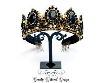 Black crown Bridal Crown Crown Black Tiara Crystal crown Gold crown Gothic Crown Queen Crown Dolce crown