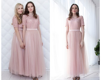 eddeeedd6fe Bridesmaid dress Lace pink dress Lace woman dress Pink bridesmaid dress  Infinity Dress Prom Dress Pale pink women dress Blush pink dress