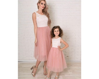 c13d1a4cbcfa Pink mother daughter matching tutu lace dresses Mommy and me pink dress  skirt Rustic girl dress Girls party dress Lace dress Birthday party