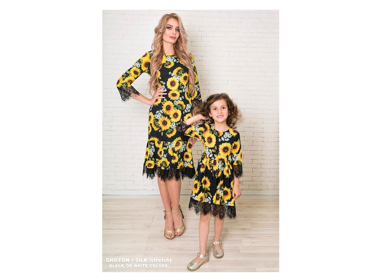 39299d367e3 Sunflower mother daughter matching dresses Mommy and me