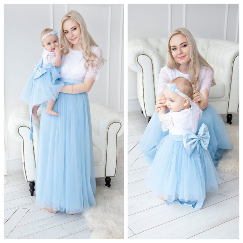 Mother Daughter Matching Dress Mommy And Me Blue