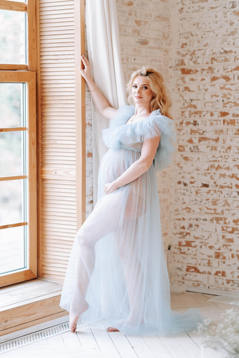 Tulle maternity dress Maternity gown Maternity dress Grey maternity gown Blue matternity dress Pregnant gown Pregnant dress Maternity photos