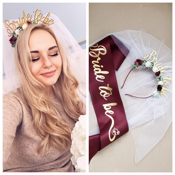 Bachelorette party crown wedding crown gold and pink customize veil hen party crown Bride to be crown