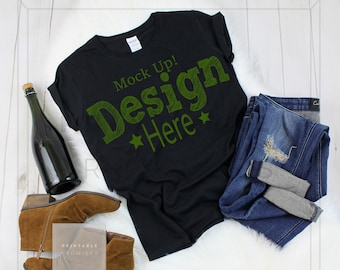 Download Free Gildan Ladies Black T Shirt Mockup 500L, Ladies Mock-Up Shirt, TShirt Blank Photo, Blank Shirt Imgae, Shirt Display, Digital Download PSD Template