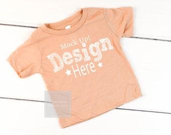 Bella Canvas Baby Shirt Mock-Up Infant Peach Shirt Mockup Vinyl Shirt Pictures Image Photo Shirt Peach Mock Up Shirt Bella Canvas Mock Up