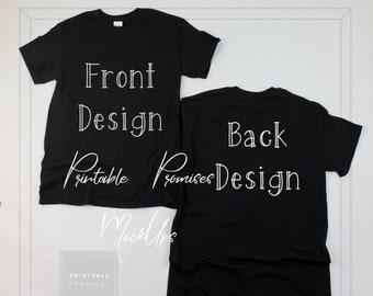 Download Free Front Back Black Gildan 500 Shirt Mock up, Black MockUp Front Back, Black Photo, Shirt Only Image, White Background Mock Up, Download JPG PSD Template