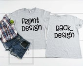 Anvil Heather Grey Front Back Shirt Mock Up Anvil 780L Shirt Mock up, MockUp Front Back, Shirt Photo, Shirt Only Image, White Background
