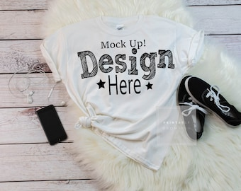 Download Free Gildan White Shirt Mock Up, Youth White Mockup Shirt, Kids tShirt Mockup, Girls Shirt Mockup, Shirt Display, Kid Mockups Shirts PSD Template