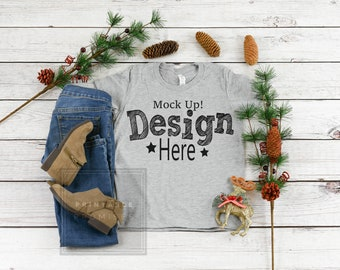 Download Free Christmas Youth Shirt Mockup Bella Canvas 3001Y Youth Athletic Heather Shirt Mock Up, Youth tShirt Mockup, Kids Shirt Mockup, PSD Template
